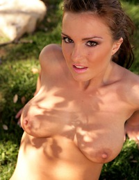 All natural babe Barbie takes off her pink lingerie on the grass outside