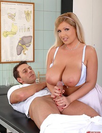 Blonde nurse Chintia Flowers pussy & titty-fucked by Nick