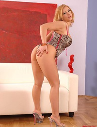 Sexy blonde babe Luba Love playing with her natural boobs