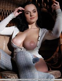 Raven-haired Lana with her amazing, large breasts and stockinged feet. - Lana I - Melisi