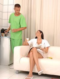 Nurse Gianna enjoys a threesome with two hard doctor dicks